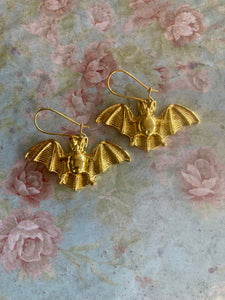 Gold Winged Bat Earrings