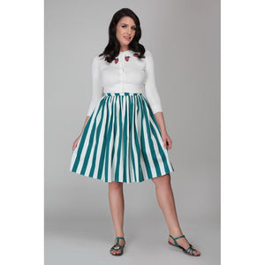 Rosie Green and White Striped Swing Skirt- HAS POCKETS!