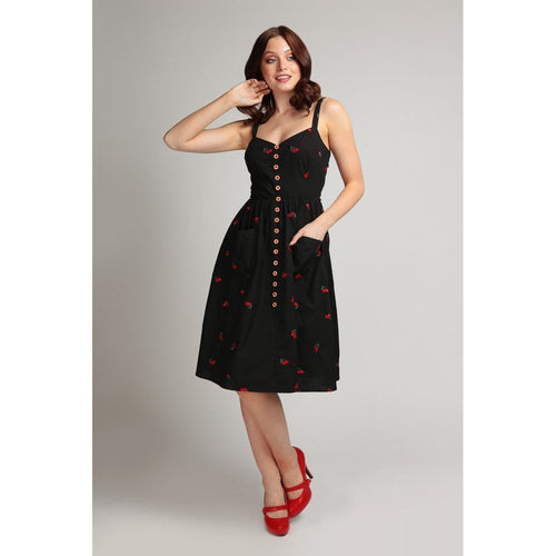embroidered cherry dress collectif retro