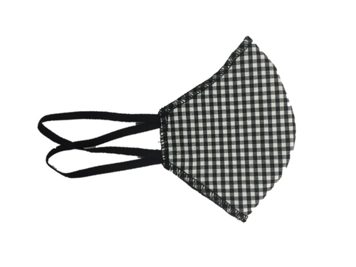 black and white gingham cotton mask