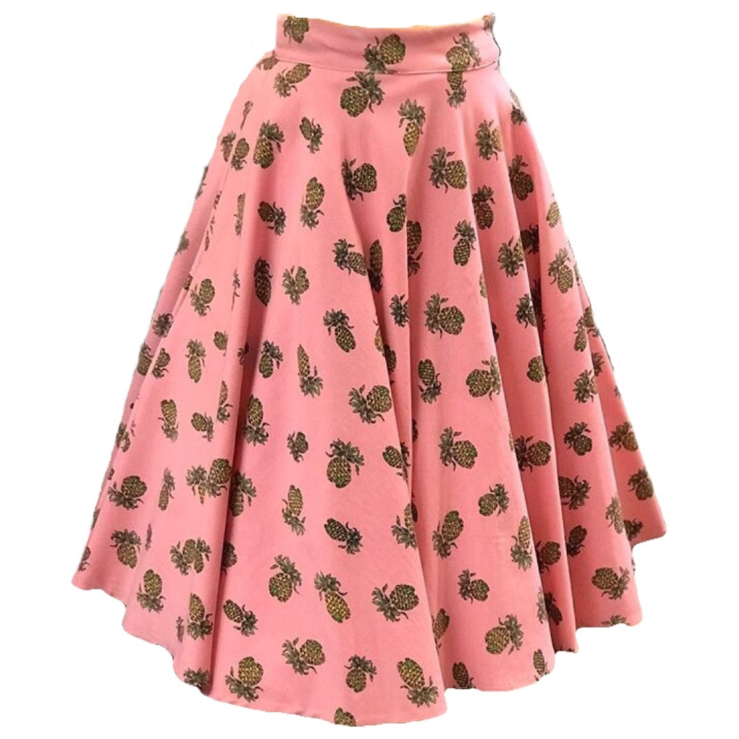 Pink Pineapple Swing Skirt- Up to 3XL!