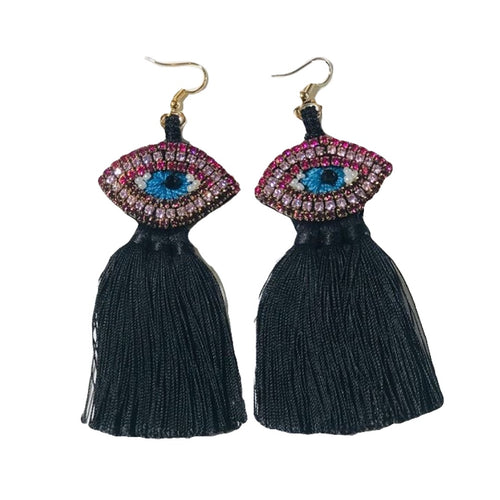 pink and blue crystal evil eye earrings with tassels