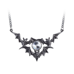 Silver Bat Colony and Crystal Necklace