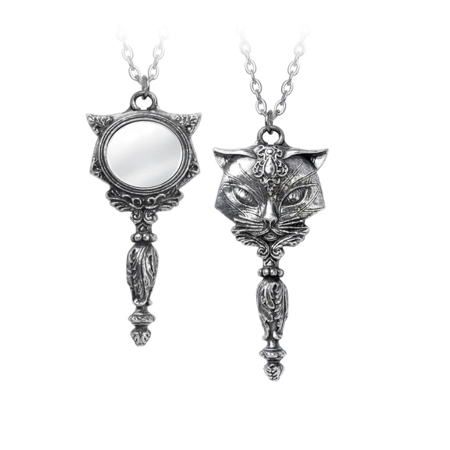 Mystical Cat Mirror Pendant Necklace