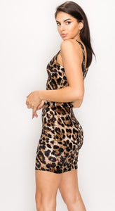 Velvet Leopard Print BodyCon Dress