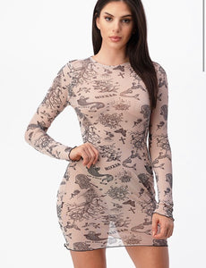 Tattoo Print Sheer Dress