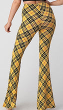 Load image into Gallery viewer, Yellow Plaid Bell Bottom Leggings