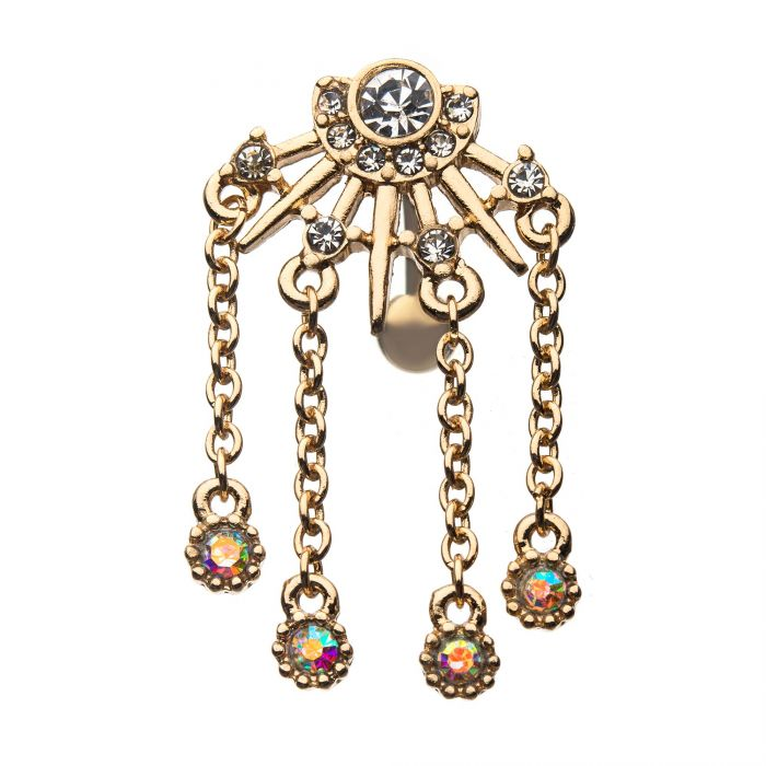 Top Down Gold Spikes and Gems with Dangling Chains Belly Ring