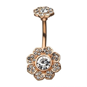 Eight Petal Flower with Flower Ball Belly Ring