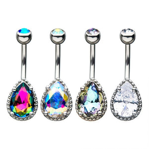 Large Haloed Teardrop Belly Ring