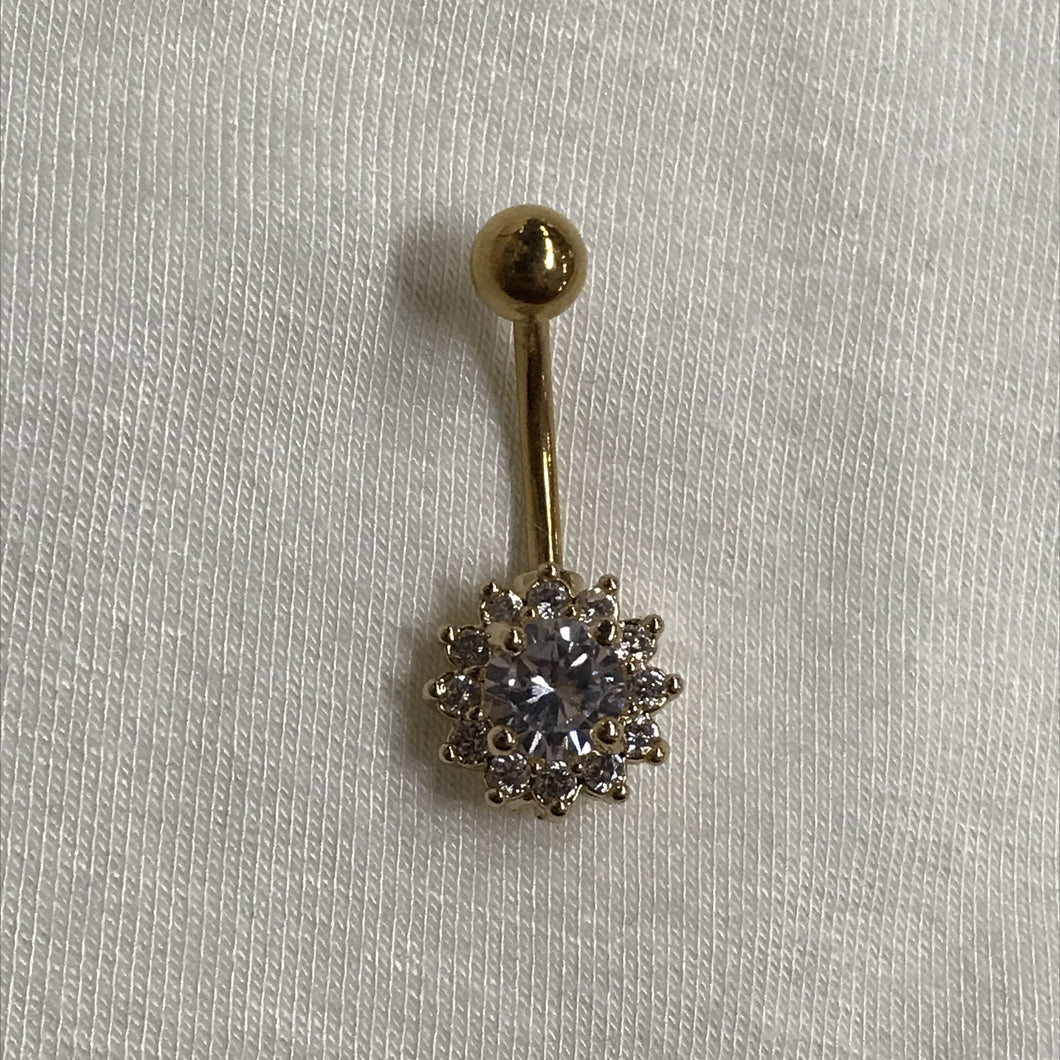 Round Small Petal Flower Belly Ring