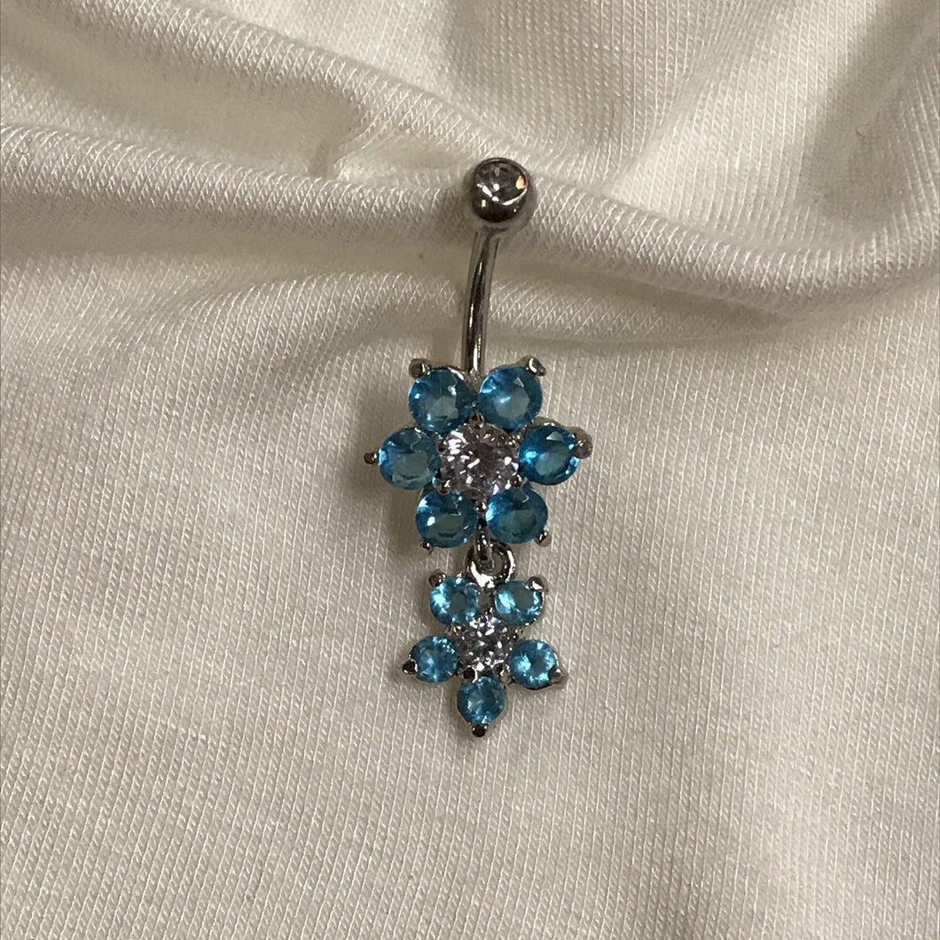 Six Blue Petal Flower with Five Petal Flower Dangle Belly Ring