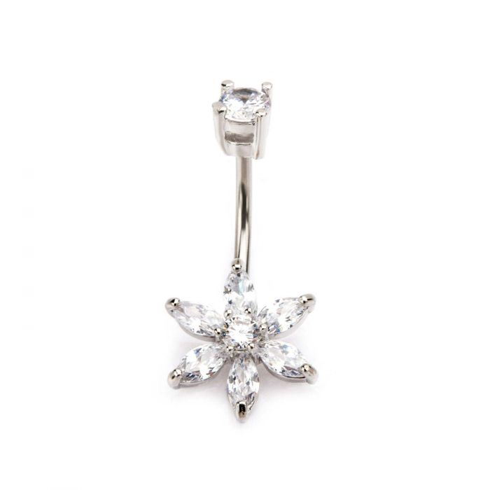 Six Petal Small Center Flower Belly Ring