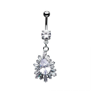Teardrop Starburst Dangle Belly Ring