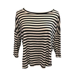 Black and White Stripe Batwing Top with 3/4 Length Sleeve