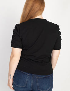 Black Ruched Short Sleeve Top