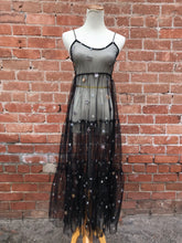 Load image into Gallery viewer, Black Sheer Star Dress