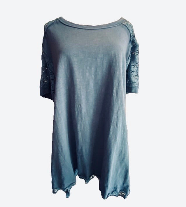 Blue Lace Back Tunic Top