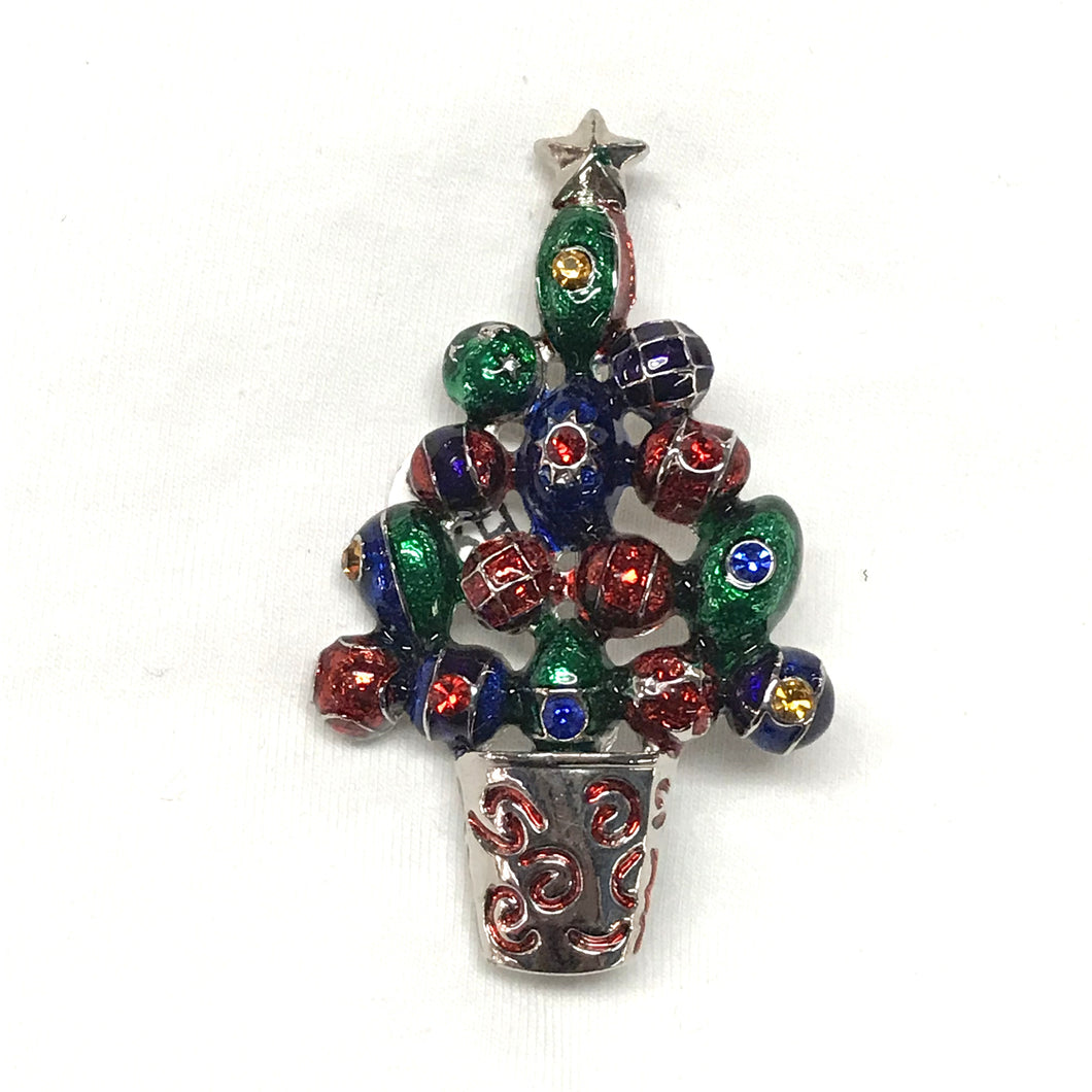 Christmas Bauble Tree Enamel Brooch