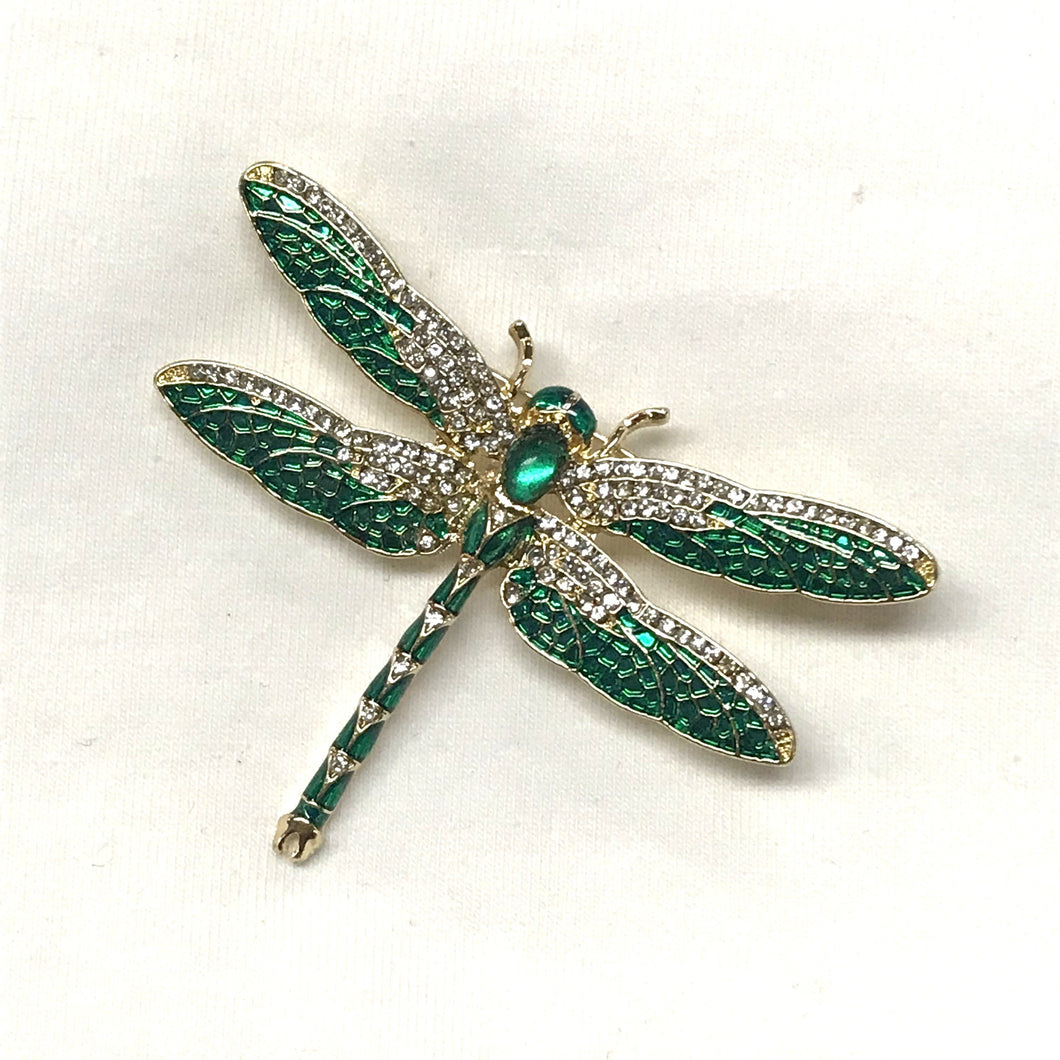 Green Dragonfly Enamel Brooch