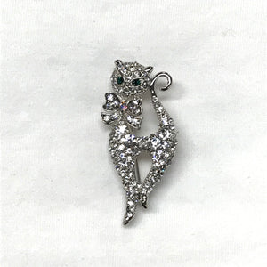 White Cat Crystal Brooch
