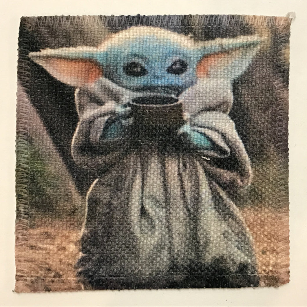 Baby Yoda with Mug Linen Patch