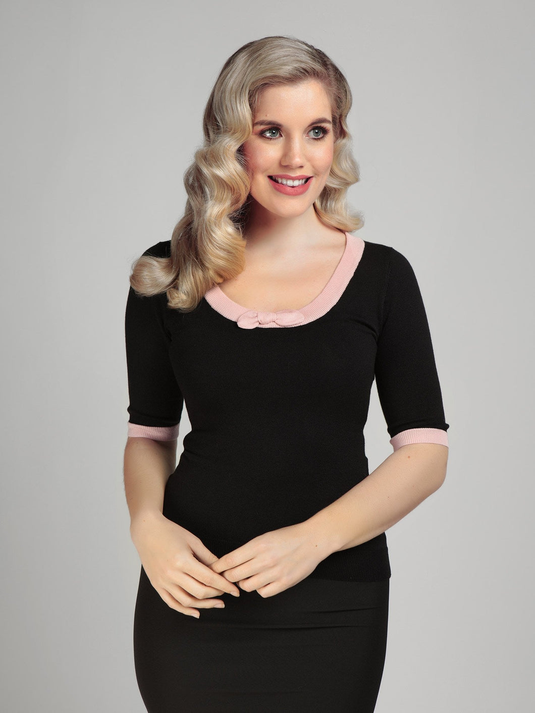 Freya Black and Pink Bow Sweater Top