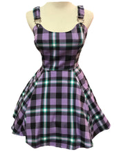 Load image into Gallery viewer, Rochelle Purple Plaid Mini Pinafore Dress