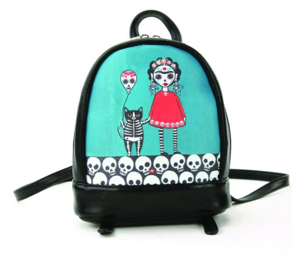 Teal Frida with SkeleCats Mini Backpack