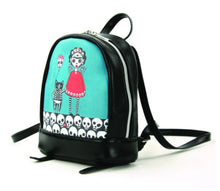 Load image into Gallery viewer, Teal Frida with SkeleCats Mini Backpack