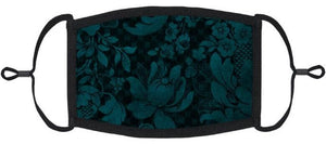 Deep Teal Floral Cotton Face Mask