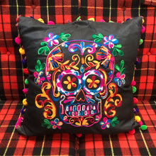 Load image into Gallery viewer, Embroidered Sugar Skull Throw Pillow