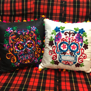 Embroidered Sugar Skull Throw Pillow