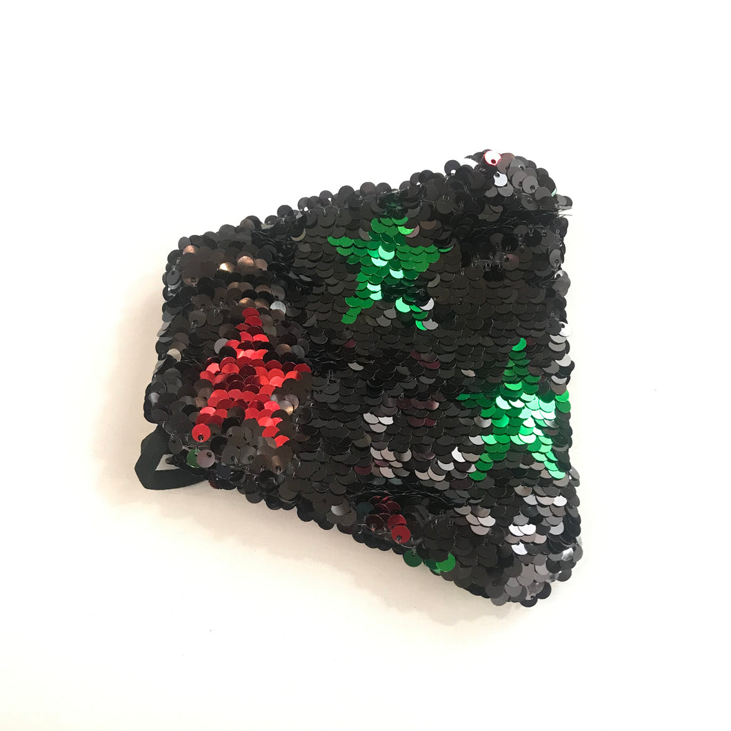 Black and Red/Green Star Sequin Face Mask