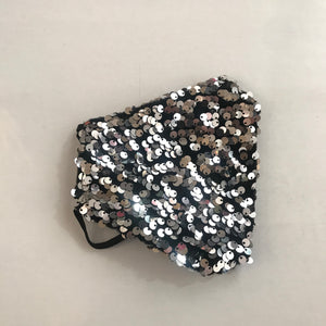 Silver Black Sequin Face Mask