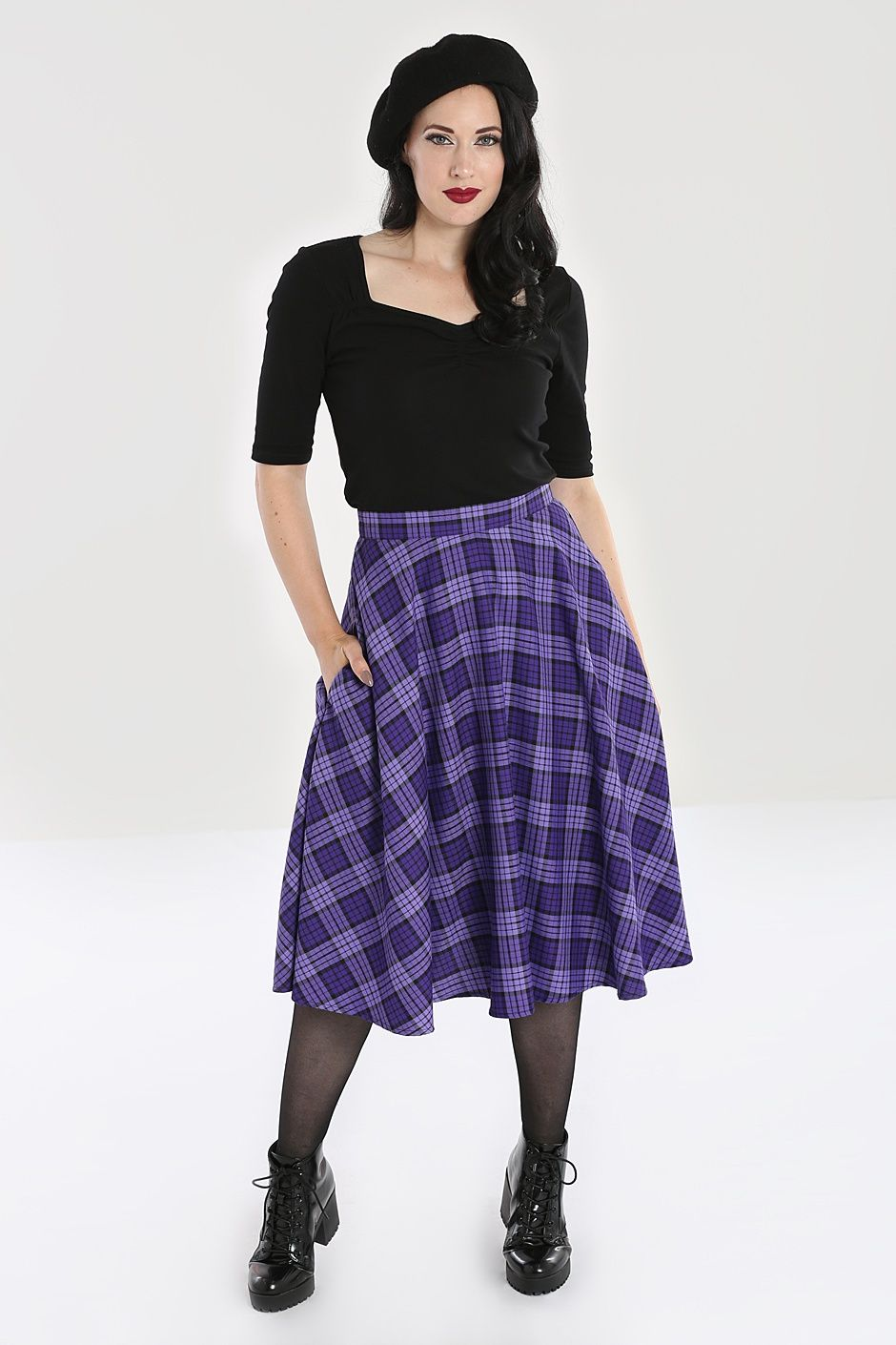 purple plaid skirt hell bunny