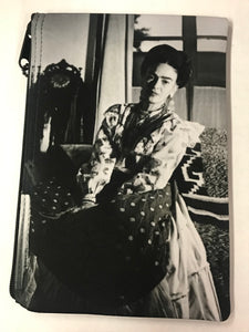 Frida Black and White Portrait Print Pouch