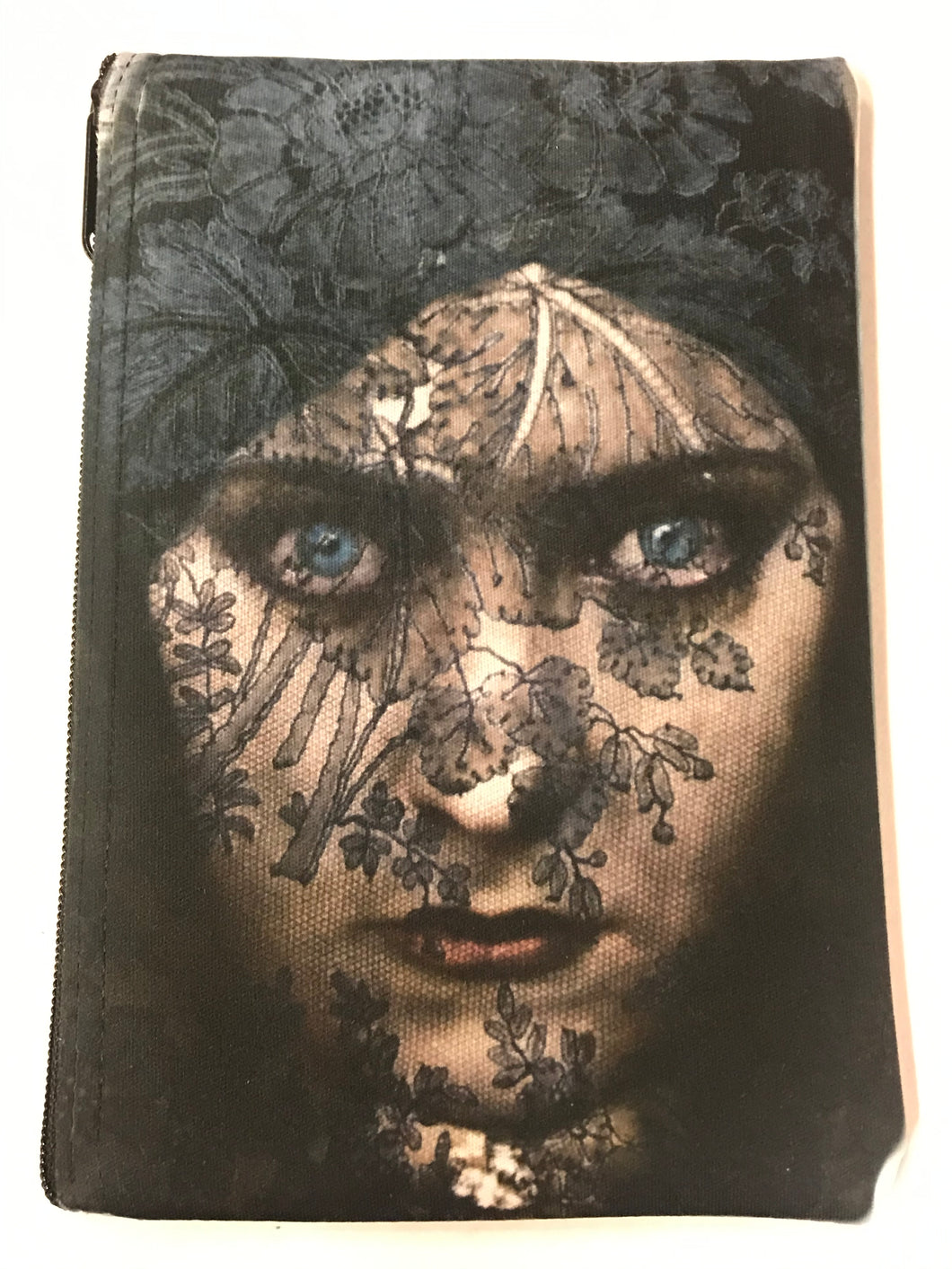 Blue Eyed Woman With Lace Veil Print Pouch