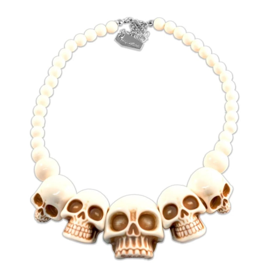 Human Skull Acrylic Necklace- Bone