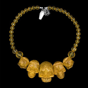 Human Skull Acrylic Necklace- Gold Glitter