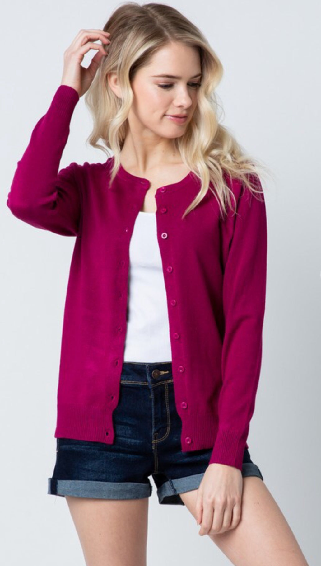Magenta Long Sleeve Cardigan