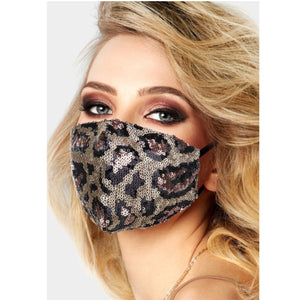 Cheetah Print Sequin Adjustable Mask