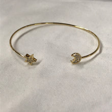 Load image into Gallery viewer, Moon and Star Dainty Adjustable Bangle Bracelet
