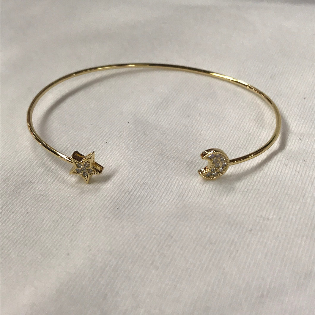 Moon and Star Dainty Adjustable Bangle Bracelet