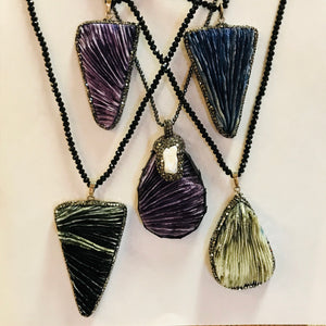 Crystal Pendants on Small Black Bead Chain Statement Necklaces