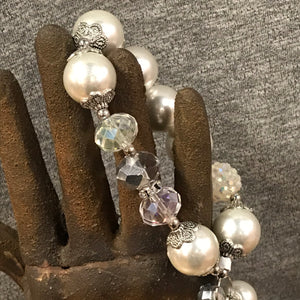Pearl and Crystal Statement Stretch Bracelet