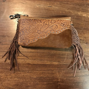 Brown Mini Leather Fringe Zip Top Purse