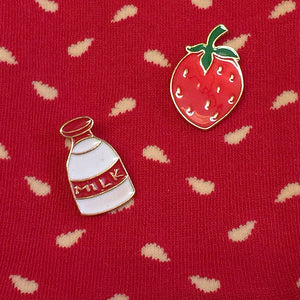Strawberry and Milk Bottle Enamel Pins