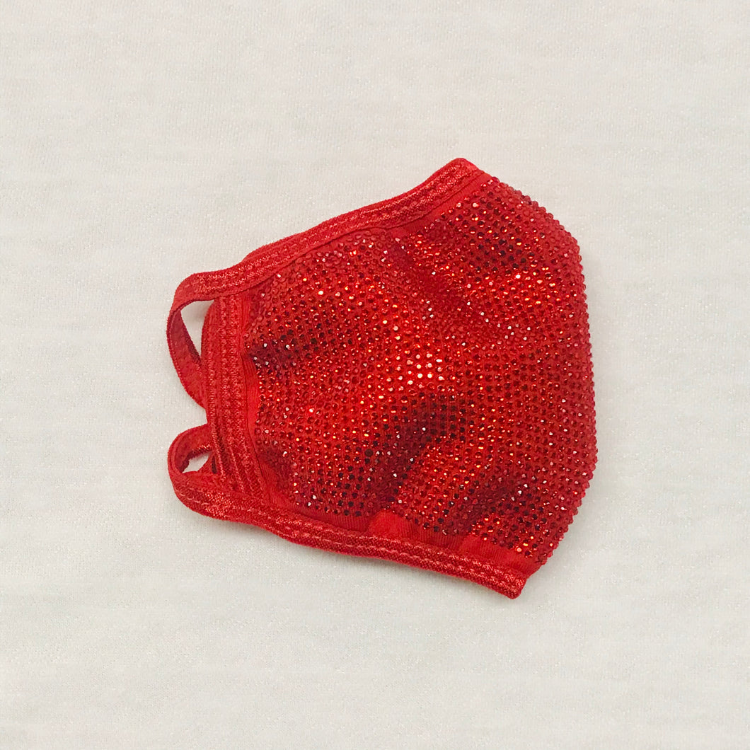 Red with Teensy Red Crystal Bling Face Mask