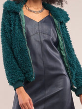 Load image into Gallery viewer, Hunter Green Faux Fur Bomber Jacket